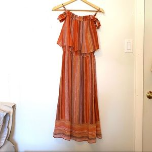 Boho Rust Linear Breezy Midi Lined Dress